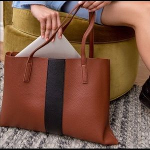 Vince Camuto Luck Tote in Brown with Black Stripe